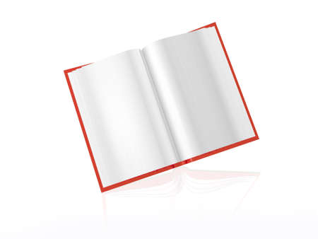 Red book, white reflective background, 3D illustration.