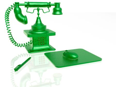 Retro phone with keyboard, pen and mouse on white background, 3D illustration.
