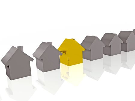 Grey and yellow homes on white reflection background, 3D illustration. Imagens - 80571998
