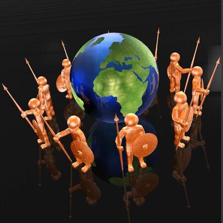 man's: Orange armed mans with globe on black background, 3D illustration.