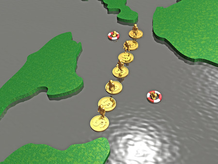 Mans jumping on coins - metaphor, 3D illustration.