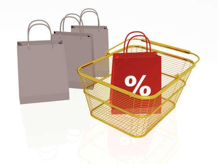 Shopping bag in the basket, white background, 3D illustration.