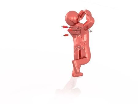 Red running man and arrows, white background, 3D illustration.