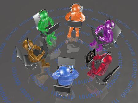 man's: Color mans with laptops on the digital background, 3D illustration.
