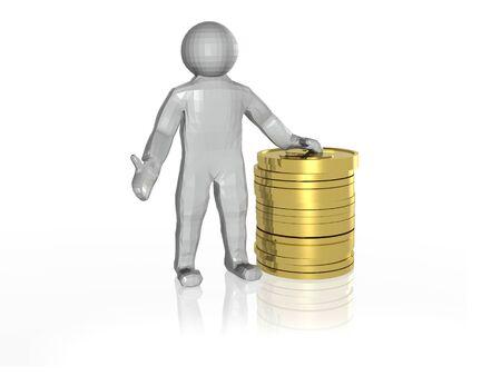 Man and money on white reflective background, 3D illustration. Imagens