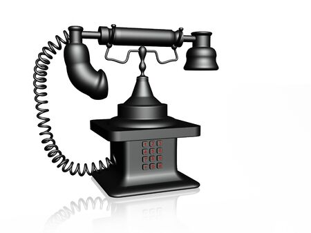old telephone: Grey phone on white background, 3D illustration.