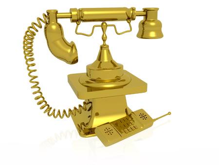 Retro and modern phones on white background, 3D illustration.