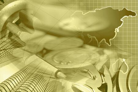 information analysis: Financial background in sepia with money, buildings, map and pen.
