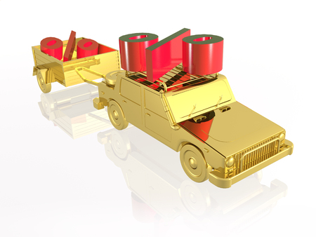 Gold car with percent signs on white reflective background, 3D illustration.