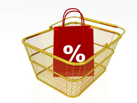 Shopping bag in gold basket, white background, 3D illustration.