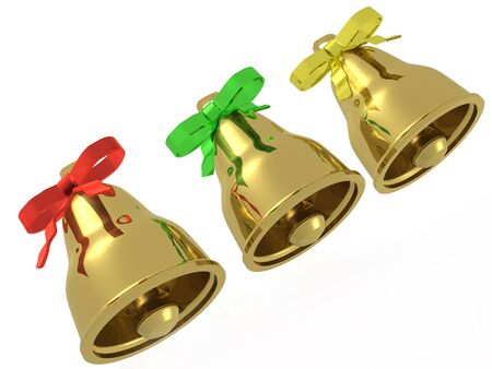 Three gold bells with ribbons against white background, 3D illustration. Stock Photo