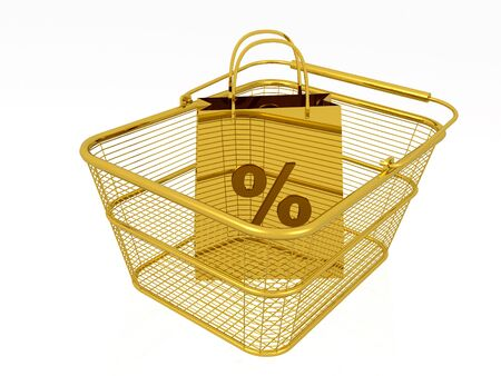 Gold shopping bag in the basket, white background, 3D illustration. Stock Photo