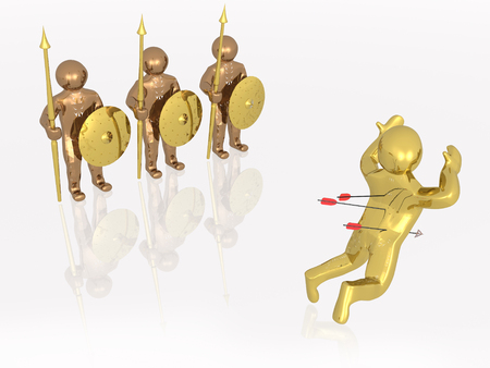 Gold running man and arrows, white background, 3D illustration. Stock Photo