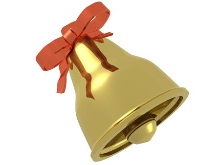 One gold bell with ribbon against white background, 3D illustration. Stock Photo