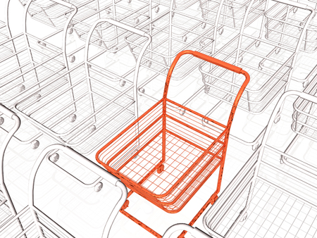 Gray and red shopping carts on white background, 3D illustration. Stock Photo