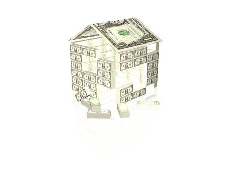 흰색 배경에 3D 그림 돈을 집.