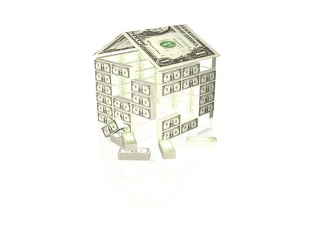 Money home on white background, 3D illustration. Фото со стока