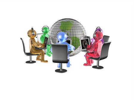 man's: Network - globe and mans on white, 3D illustration.