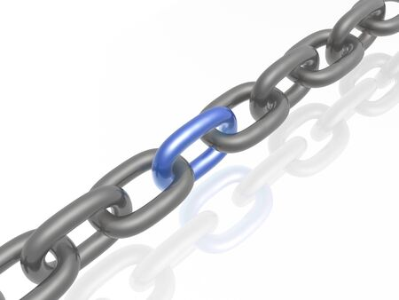 Grey chain with blue link, white background, 3D illustration.