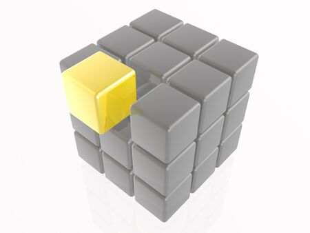 Yellow and grey cubes as abstract background, 3D illustration. Stock fotó