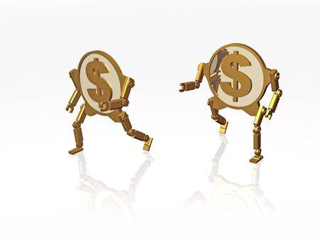 Running dollar coins on white background, 3D illustration.