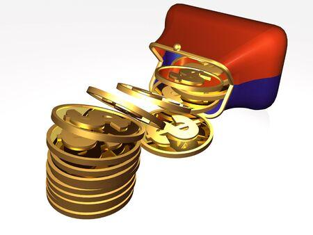 Money and magnet purse on white background, 3D illustration. Stock fotó