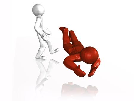 Rotes und weißes bemannt und Fußbrett, weißer Hintergrund, Illustration 3D. Standard-Bild - 86875480