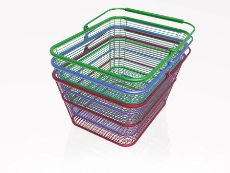 Shop baskets on white background, 3D illustration. 版權商用圖片