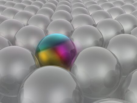 Colored and grey spheres as abstract background, 3D illustration.