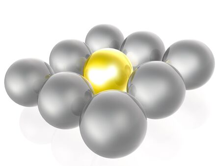 Yellow and grey spheres as abstract background, 3D illustration.