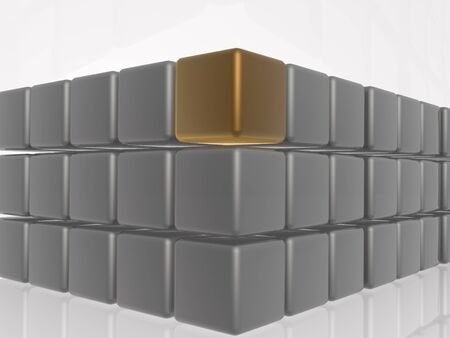 Brown and grey cubes as abstract background, 3D illustration.