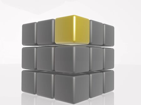 Yellow and grey cubes as abstract picture, 3D illustration.