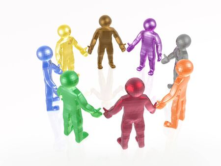 squad: Round dance of color mans on the white background, 3D illustration.