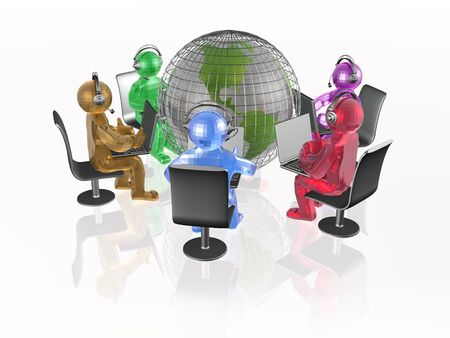 Globe and color mans on the white background, 3D illustration. Banco de Imagens - 87440276