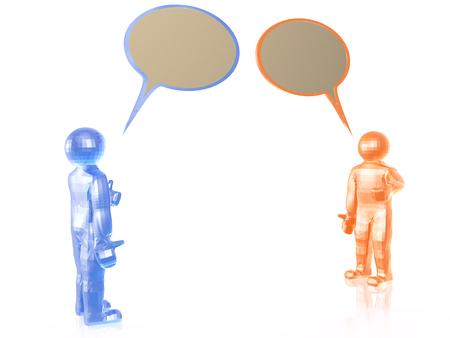 man's: Two speaking mans on white background, 3D illustration.
