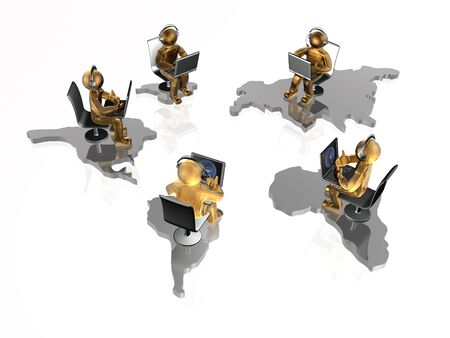 Brown mans with laptops and continents on white background, 3D illustration. Stock Photo