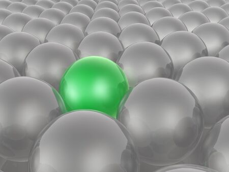 Green and grey spheres as abstract background, 3D illustration. Stock fotó