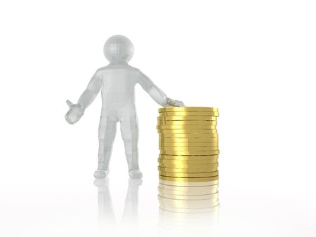 Man and money on white reflective background, 3D illustration. Stock Photo