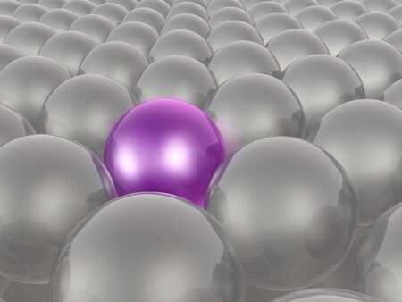 Violet and grey spheres as abstract background, 3D illustration.