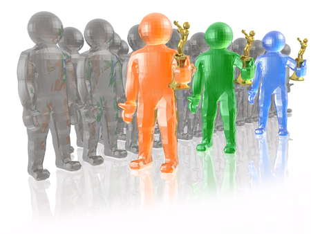 Color and grey mans on white reflective background, 3D illustration.
