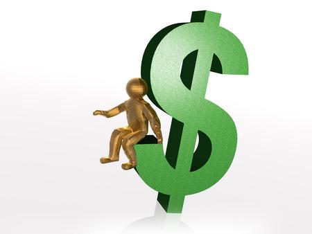 Man on dollar sign, white background, 3D illustration.