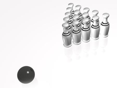 White skittles and ball on white background, 3D illustration.