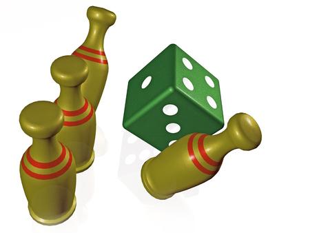 Skittles and die on white background, 3D illustration. Reklamní fotografie
