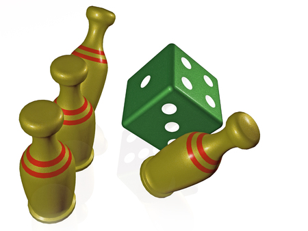 Skittles and die on white background, 3D illustration. Stock fotó