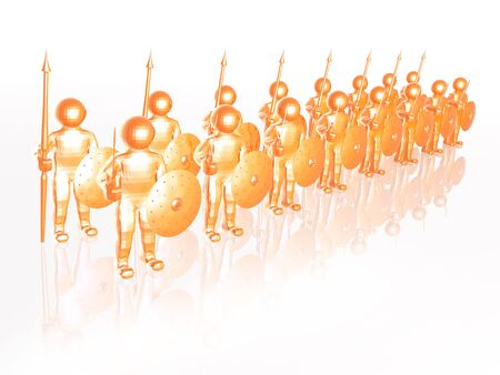 Orange soldiers on white reflective background, 3D illustration.