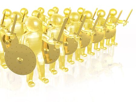 Yellow soldiers on white reflective background, 3D illustration.