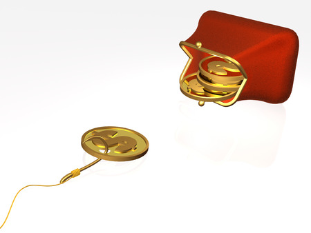 Hook with coin and purse on white background, 3D illustration. Stock Photo