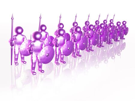 Violet soldiers on white reflective background, 3D illustration.