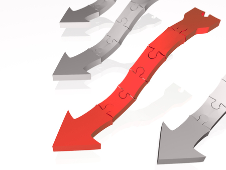 Red and gray arrows on white reflective background, 3D illustration. Stock Photo
