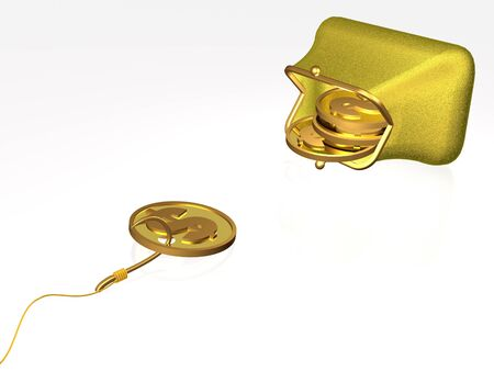 trap: Hook with coin on white background, 3D illustration. Stock Photo